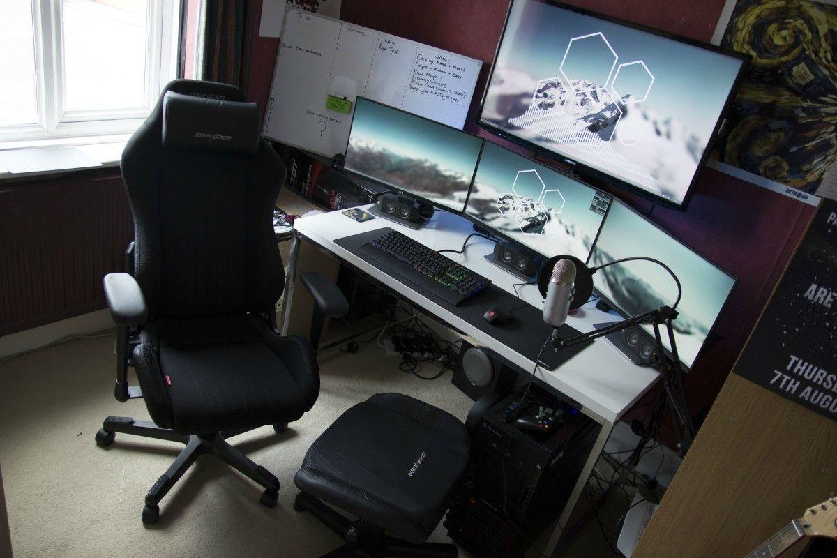 gaming chair with monitors hans wegner rocking battle station computer desk setup white ikea