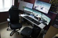 Battle station Gaming computer desk Setup white Desk IKEA