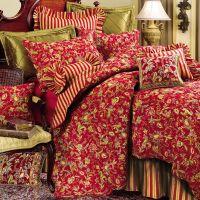 floral comforters | Home > Caspienne Floral Leaf Red Quilt ...