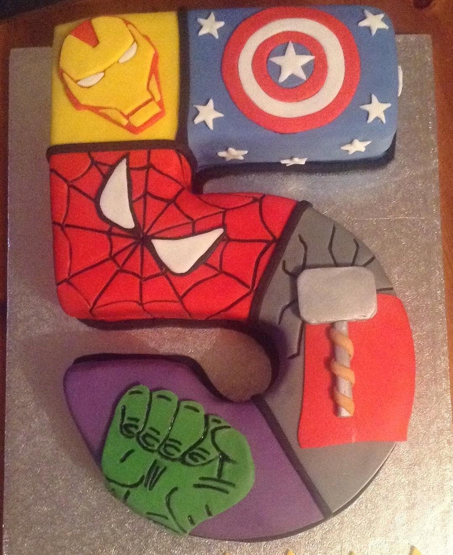 Marvel Superheroes Birthday Cake Including Thor Captain