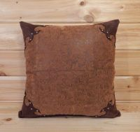 Western Tooled Leather Pillow