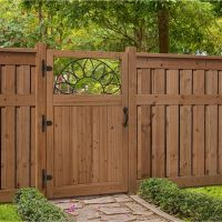 3.5 ft. x 6 ft. Cedar Fence Gate with Sunrise Insert