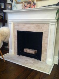 fireplace tile pictures | Finito. Travertine subway tile ...