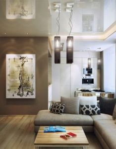 Living room awesome brown cream open kitchen and designs sectional sofas wood square coffe tables beautiful also ideen wohnzimmer einrichtung wohnkueche essbereich beige weiss rh za pinterest