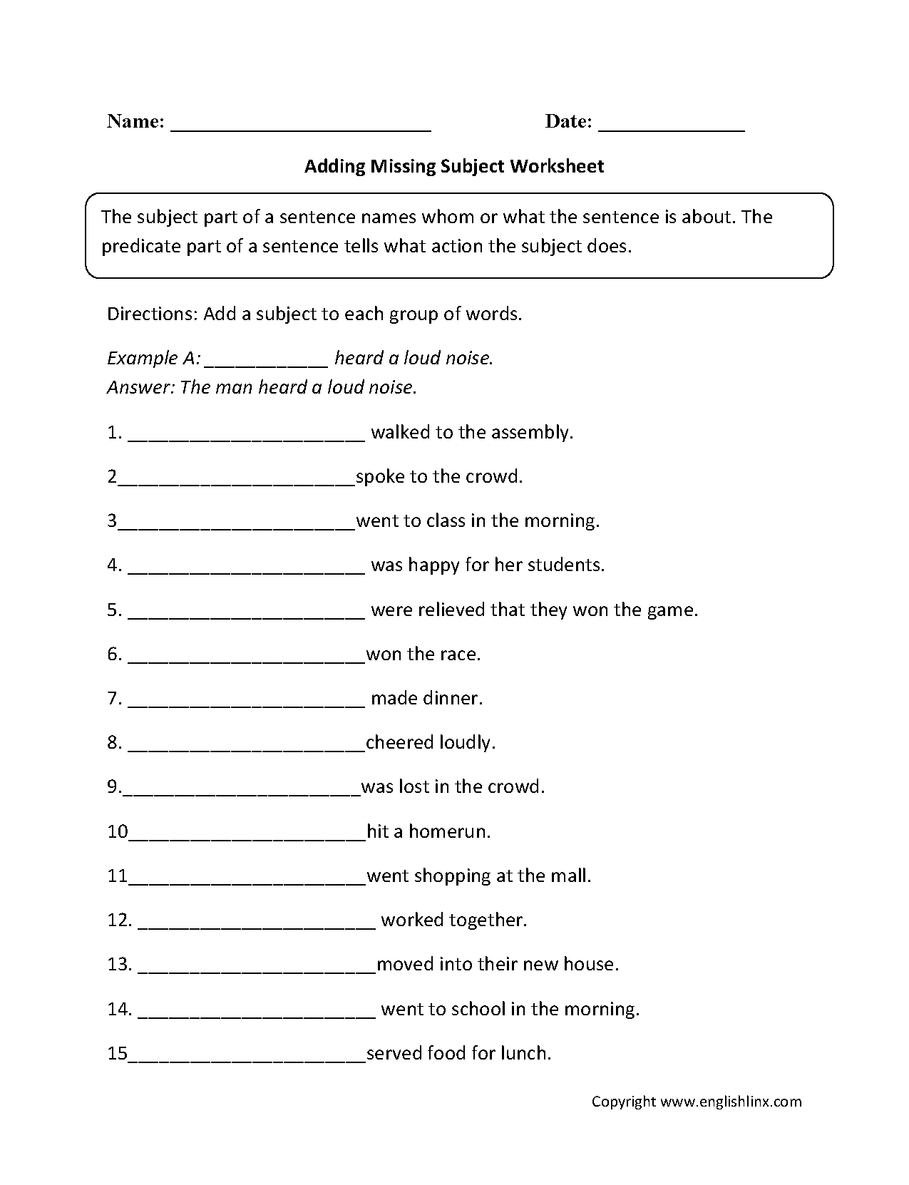 Worksheet Simple Subject And Predicate Worksheets Grass