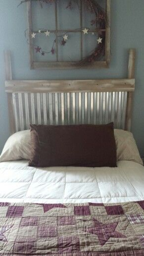 Corrugated metal headboard  diy  Pinterest  Corrugated metal