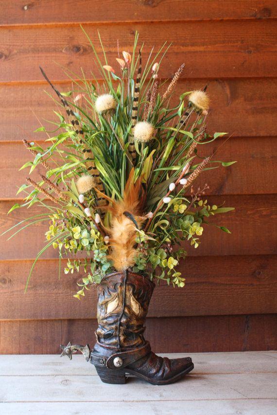 Handmade WESTERN FLORAL Flower ARRANGEMENT Cowboy Boot Real