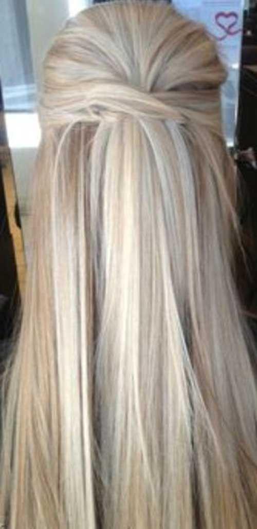 Half Up Hairstyle Straight Long Hair My Style Pinterest Half