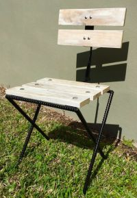 Rebar & Pallet Wood Rustic Bistro Patio Chair, Reclaimed ...