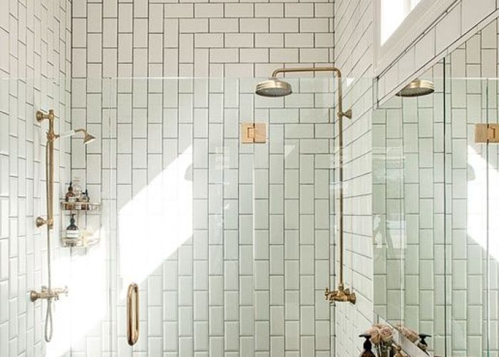 Bathroom shower tile diy brass wall mount sink fixture exposed unique layout using subway grey floor use of some wood also ba os decoraci  tmhsh pinterest tiles