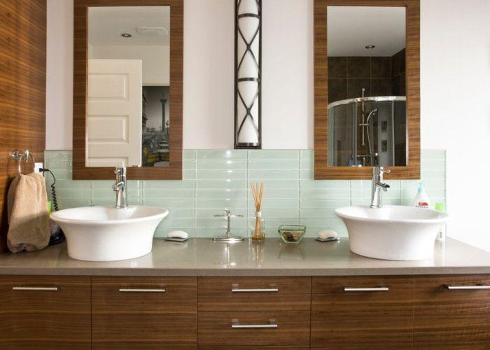 Stunning round glass tile backsplash decorating ideas in bathroom contemporary design with dark wood also