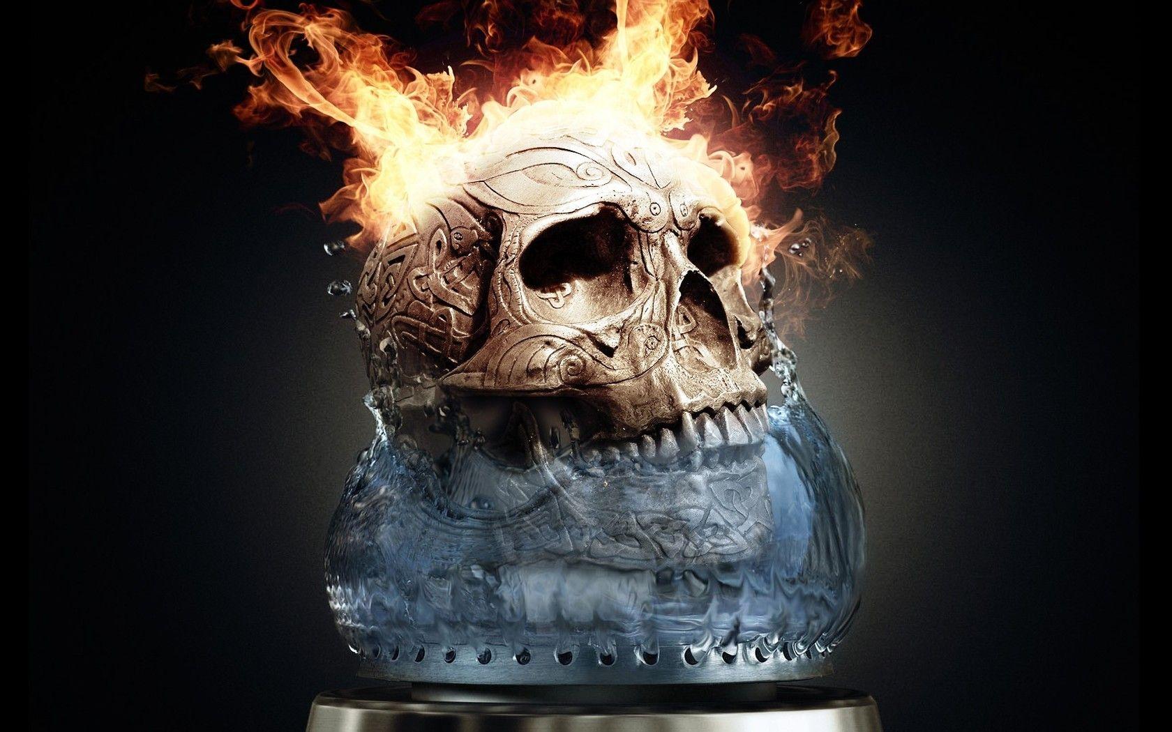 dark - skull - fire - flames - dark - artistic wallpaper | cool
