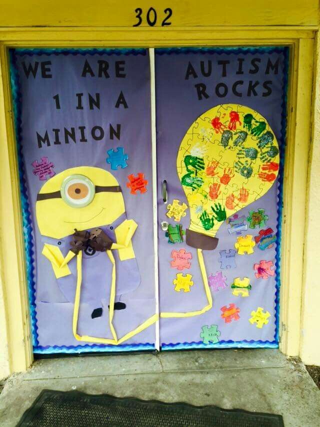 Autism awareness classroom door decor!!!