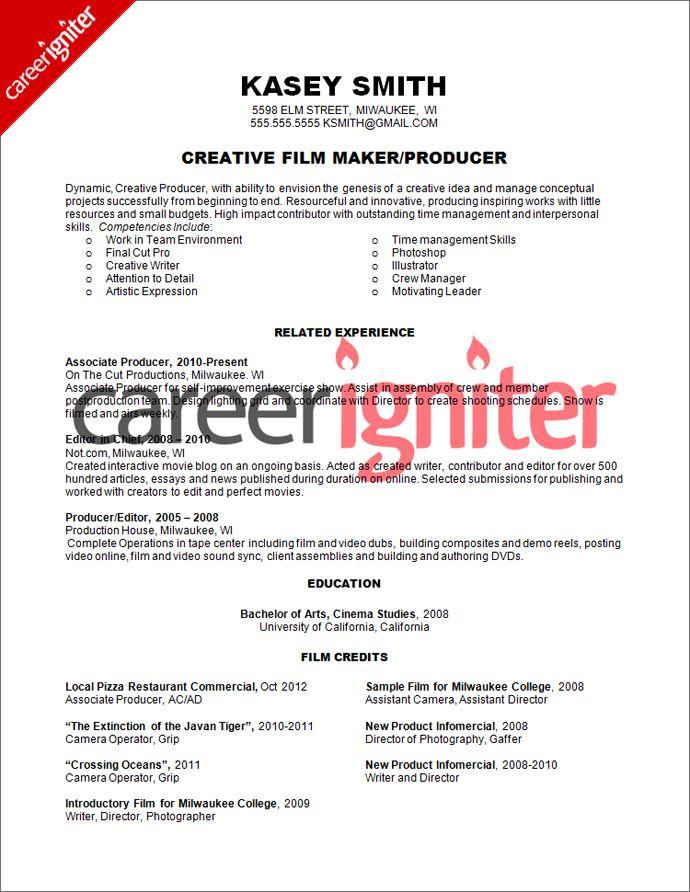 Film Producer Resume Sample Resume Pinterest Films Resume