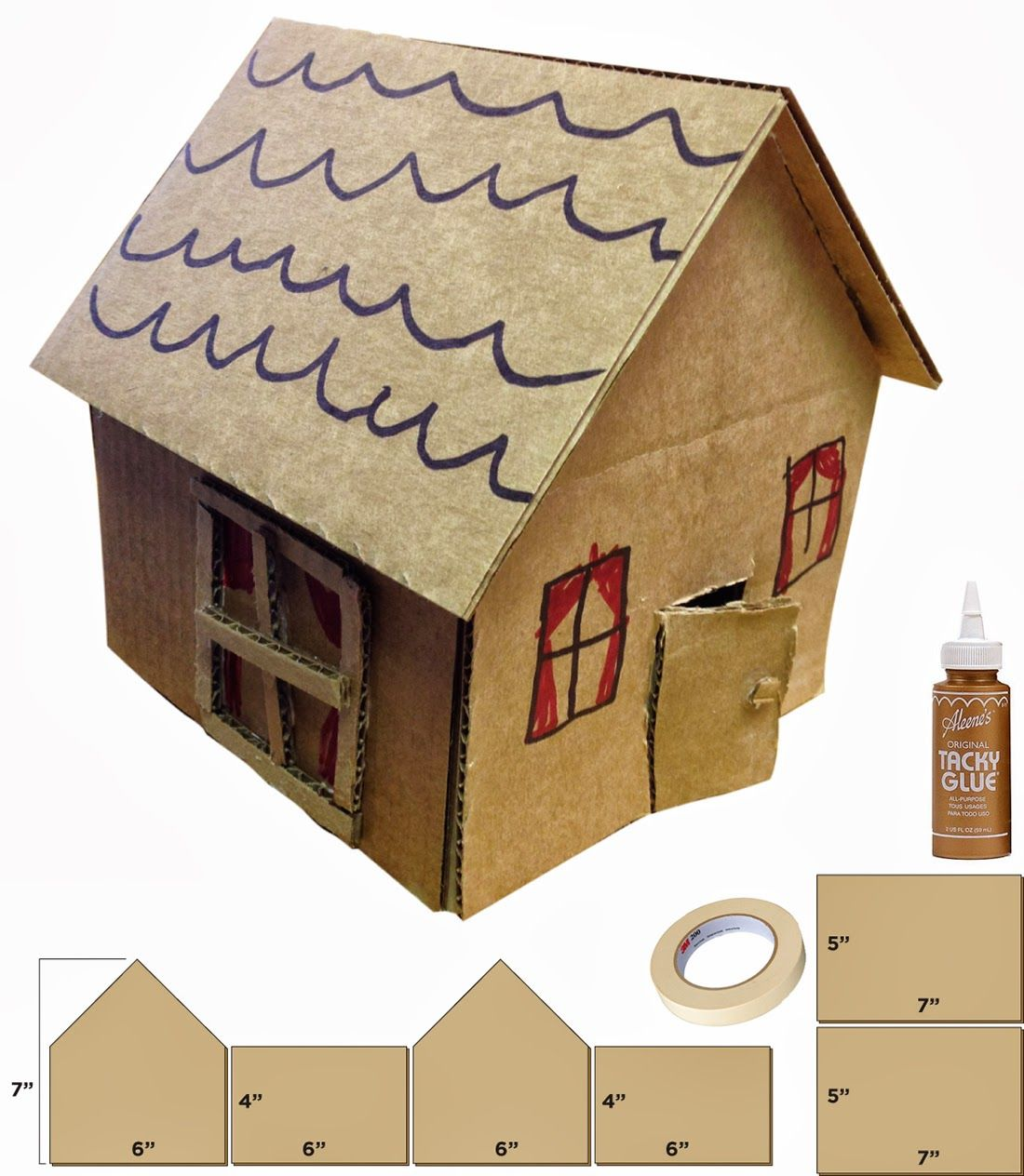 Little Cardboard Houses Patterns Craft And Recycled Art