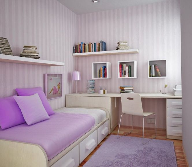 Kids Bedroom Ideas For Growth Age Boy Small Purple Stripped Wallpaper