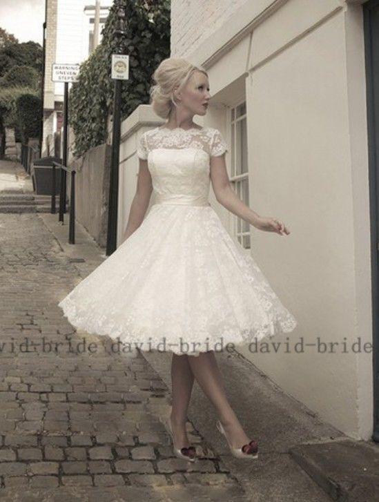 Neu Maßgeschneidert Weiß Elfenbein Kurz Spitze Brautkleid