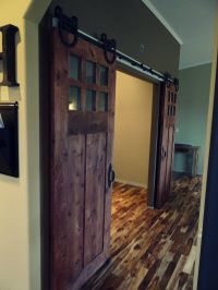Sophisticated Double Barn Doors Interior With Glass Top ...