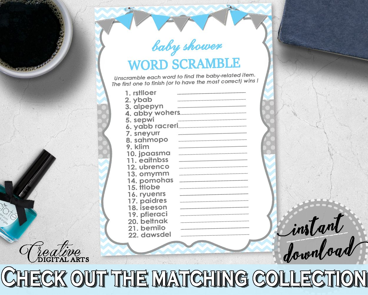 Word Scramble Baby Shower Game With Chevron Blue Color