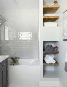Choosing new bathroom design ideas contrasting natural destials create the image of small also best images about on pinterest home grey tiles rh