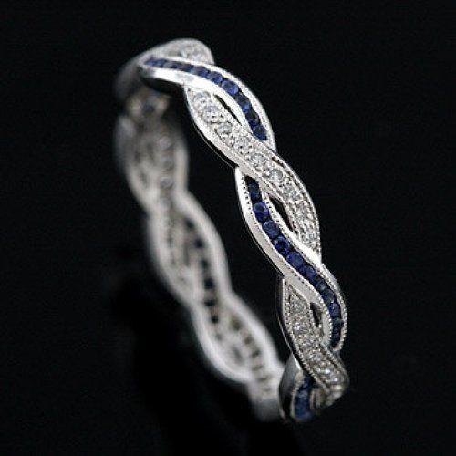 Diamond Sapphire Infinity Eternity Wedding Ring Band 18K