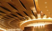 Acoustic suspended ceiling / in wood / tile / curved ...