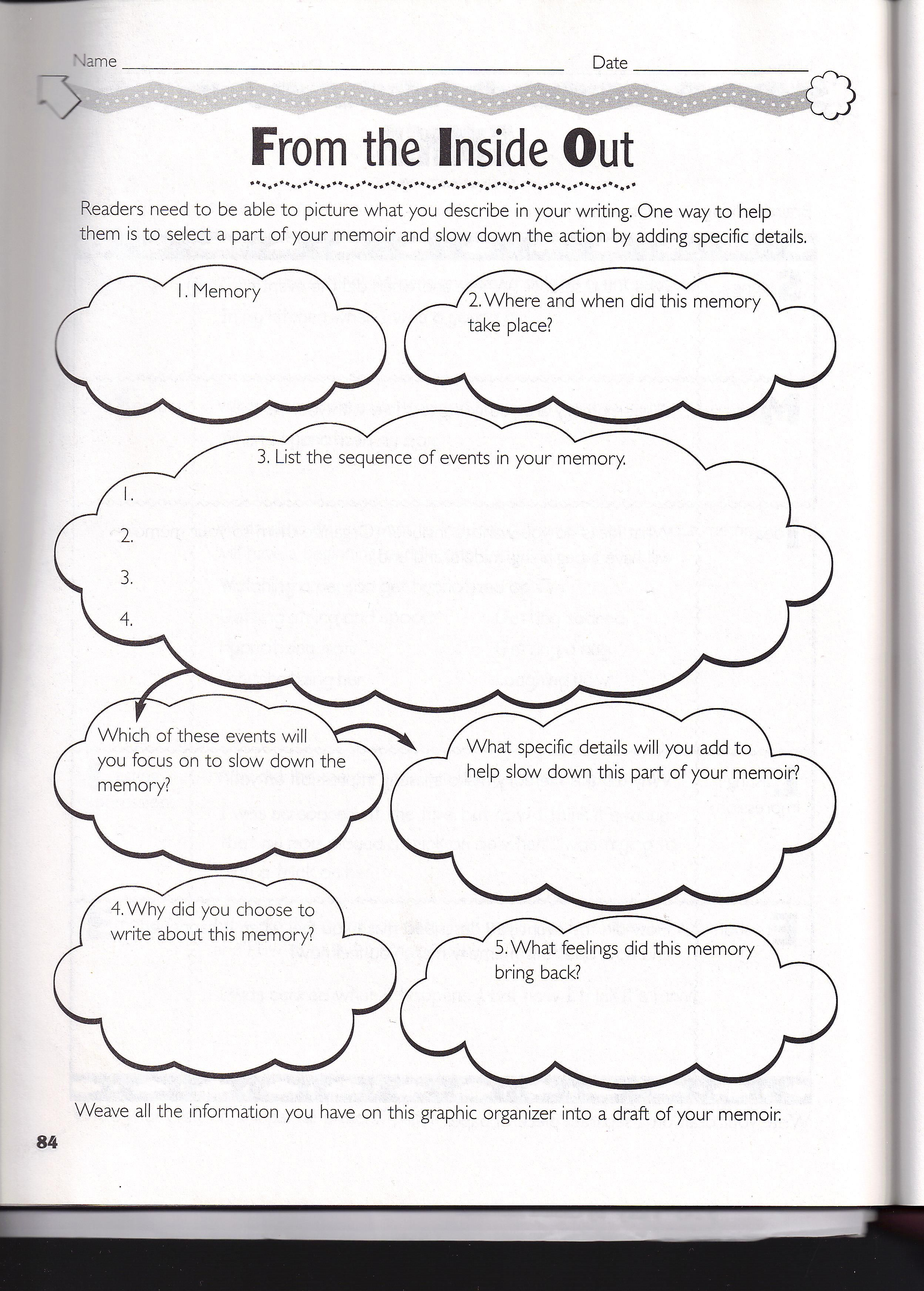 Writing Graphic Organizers Middle School Memoir