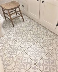 A DIY stenciled bathroom floor using the Fabiola Tile ...