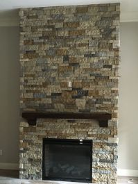 Airstone fireplace made with mix of Autumn mountain and ...