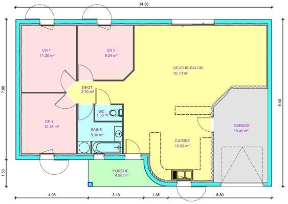 Plan Maison Plain Pied 4 Chambres Double Garage. Une Question