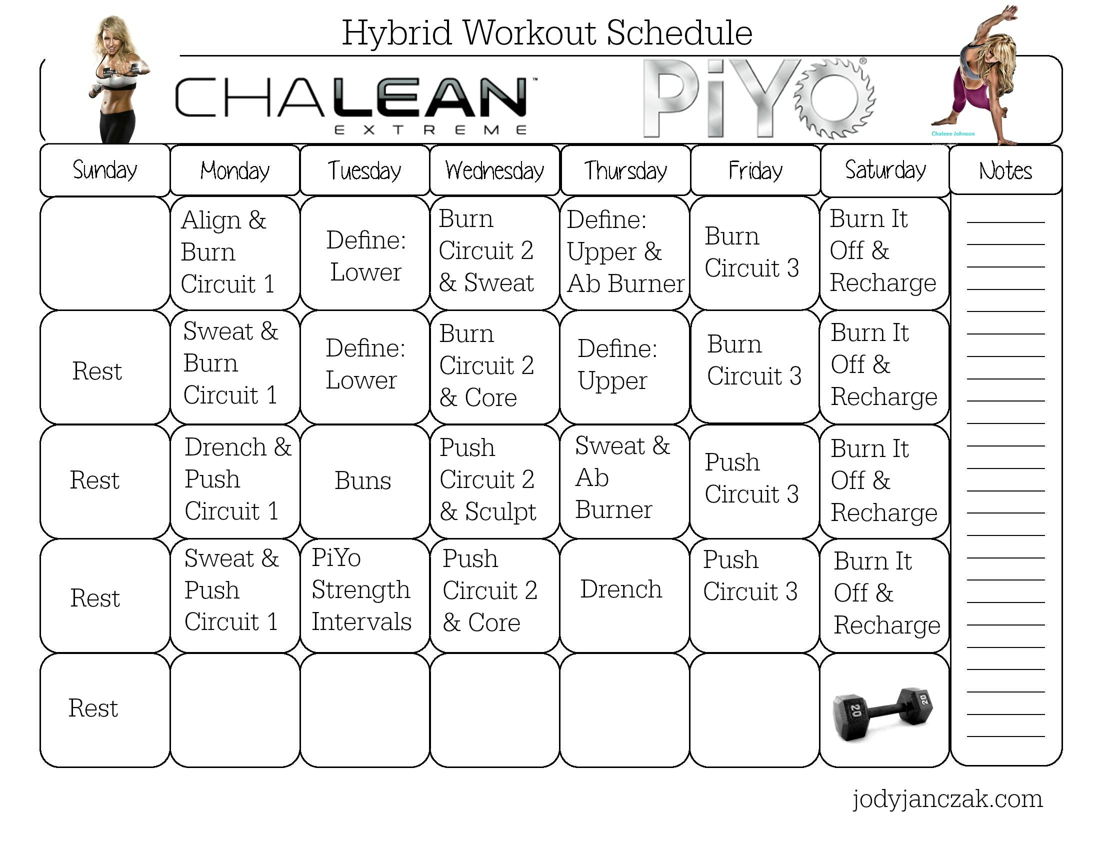 Chalean Extreme Workout Calendar Printable