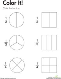 Fraction Practice: Color It! | Math worksheets, Kids ...