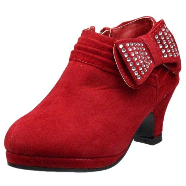 Kids Ankle Boots Rhinestone Embellished Bow High Heel