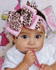 pink leopard hair bow baby.omgosh