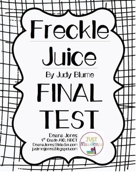 FREE final test for Freckle Juice by Judy Blume that
