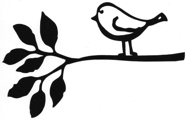 Bird On Branch Silhouette Stencil