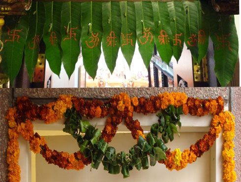 Here Is A Toran Made From Actual Mango Leaves And Marigolds For