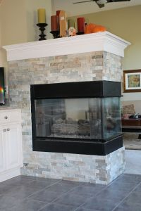 New gas fireplace with custom slate surround | House ...