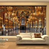 Large 3D wallpaper mural European minimalist living room ...