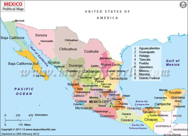 Political map of Mexico features international boundary