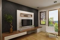 Elegant White Tv Cabinet With Contrast Wallpaper Ipc338 ...