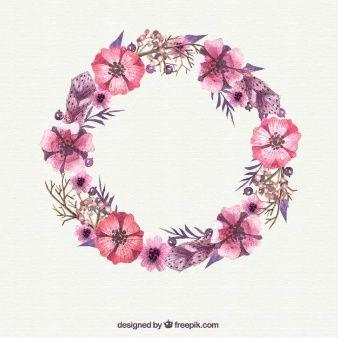 Aquarell rosa Blumenkranz  Sticker  Pinterest