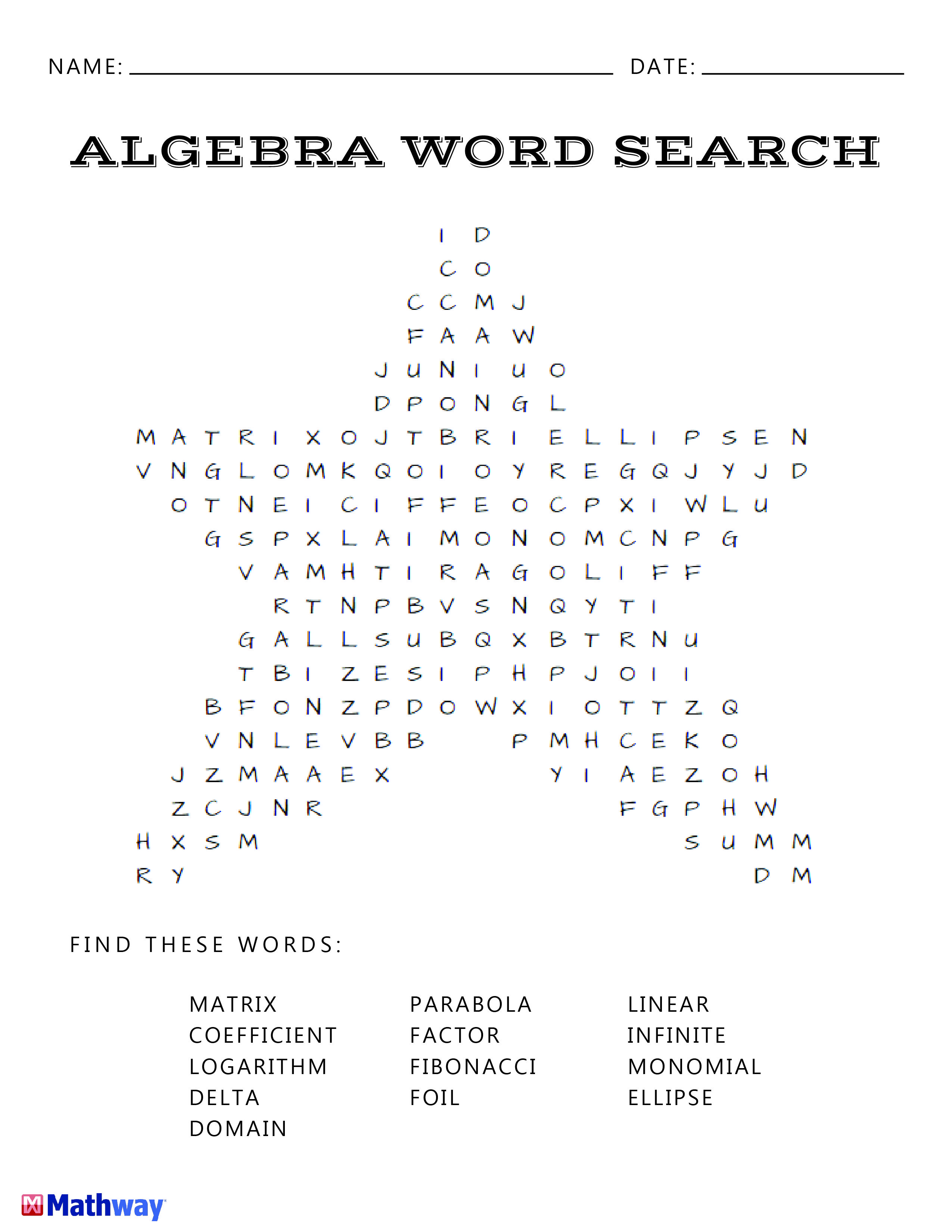 Math Search Worksheet