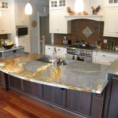 Kitchen Cabinet Granite Top Gas Ranges Waterfall Countertop Countertops Marble