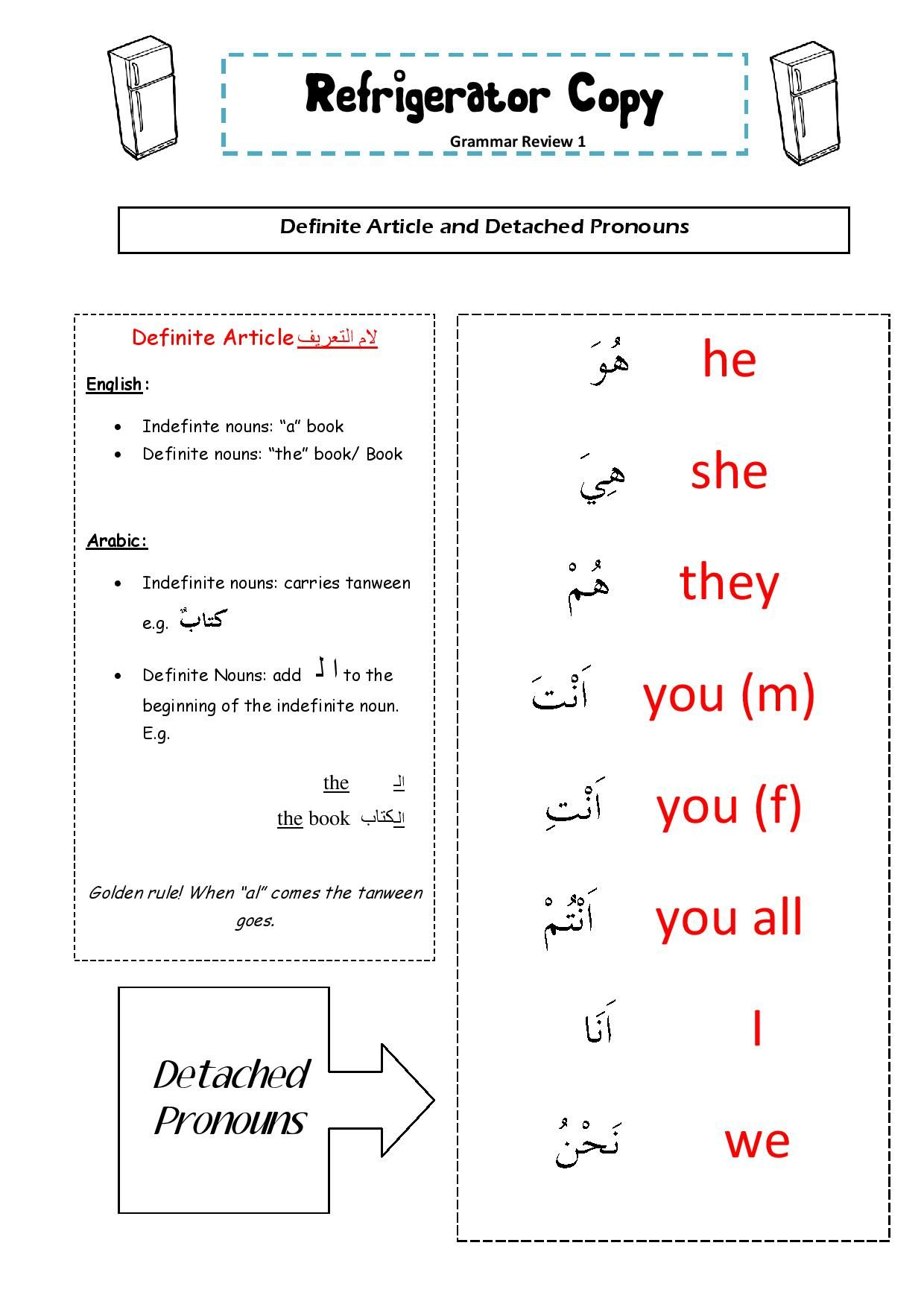 Fridge Copy Handy Revision Sheet On Detached Pronouns And