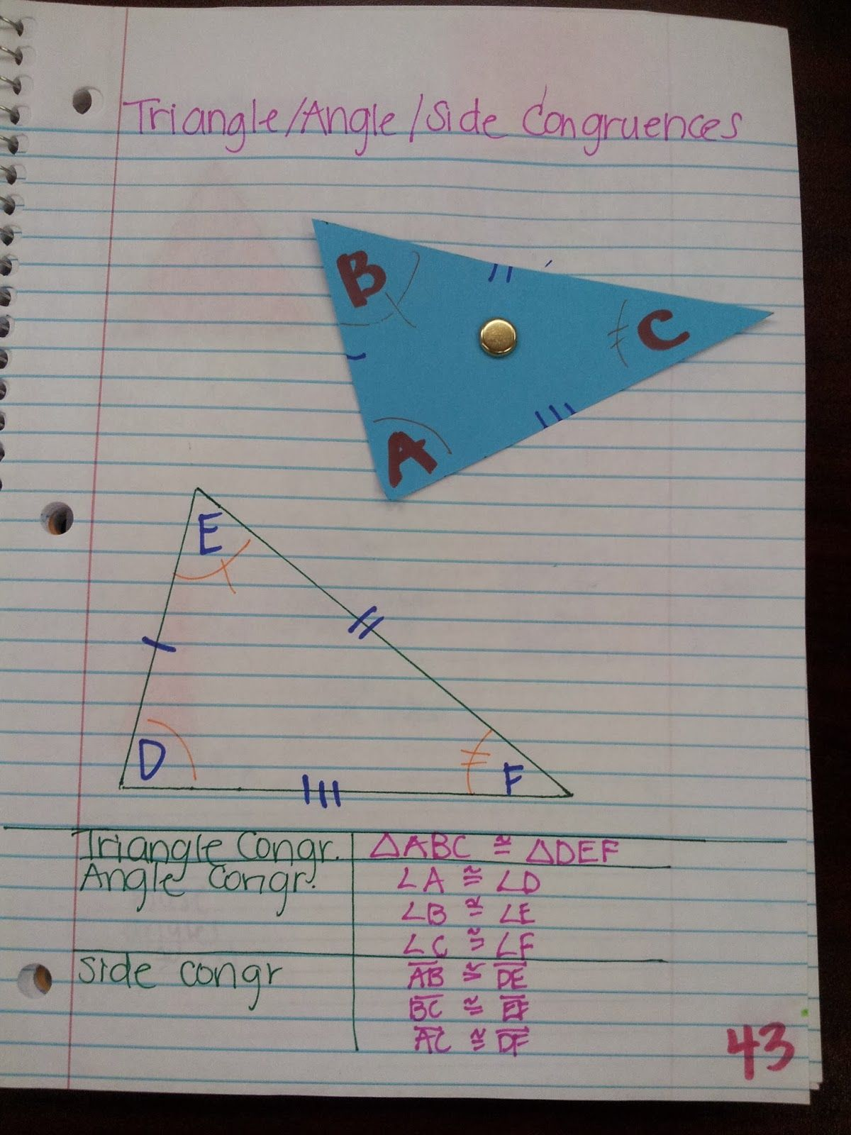 Math By Tori Triangles Writing Congruence Statements I