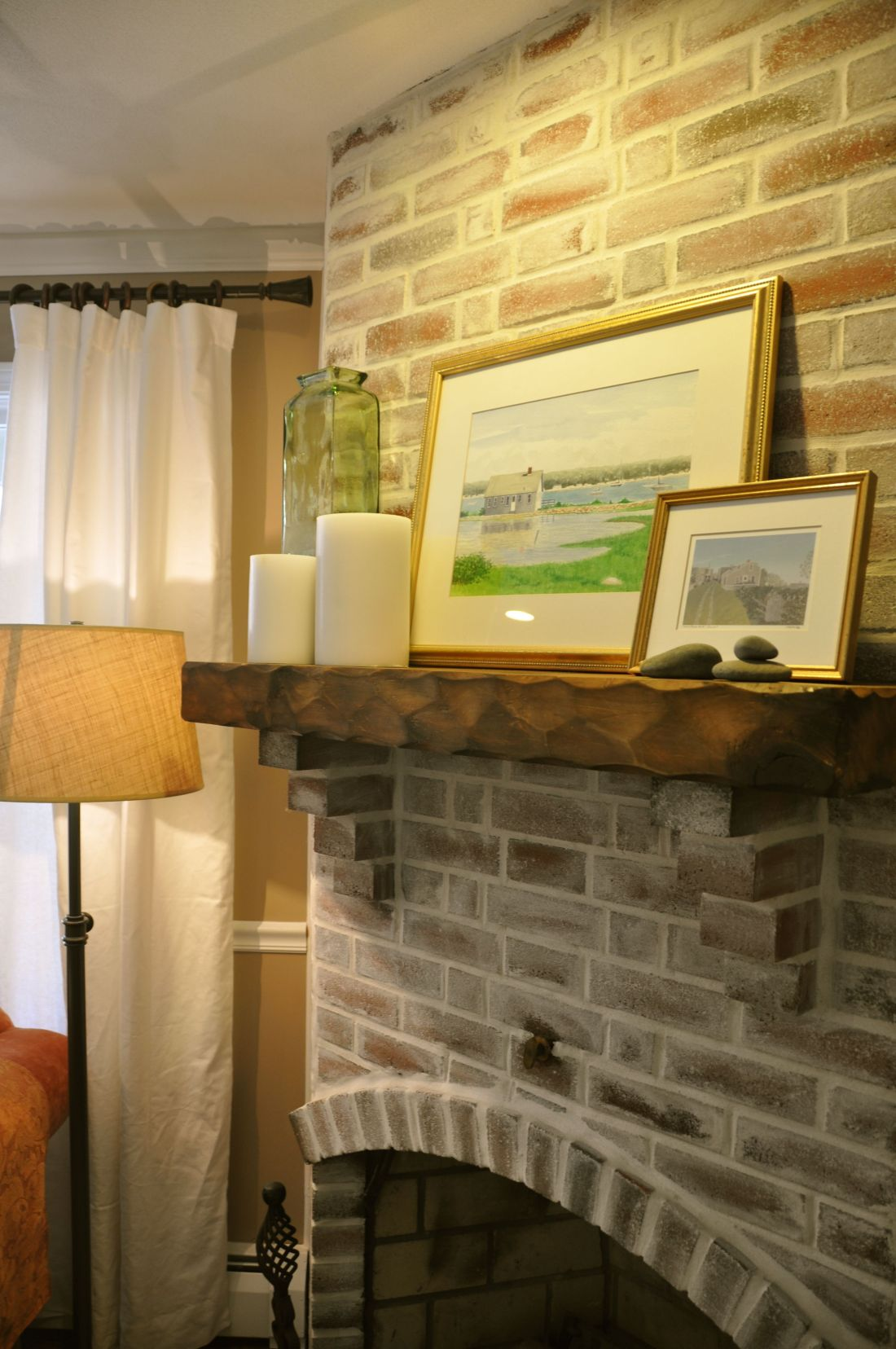 Fireplace mantel brick fireplace grout and dark red