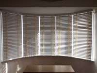 Wood venetian blinds in chalk colour fitted to a 5 ...