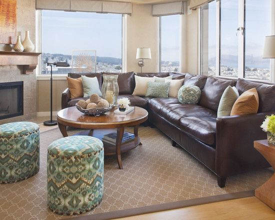 leather living room with sectional ideas Decorating using brown leather couches on Pinterest