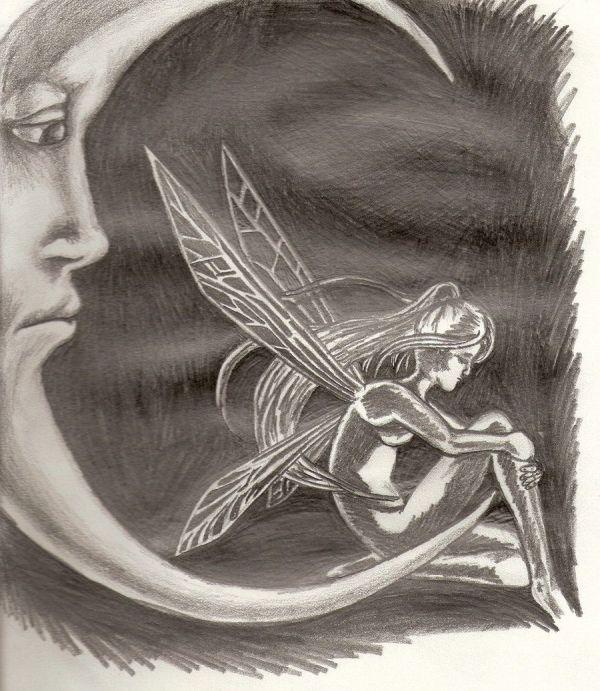 Sad Moon Fairy Drawings